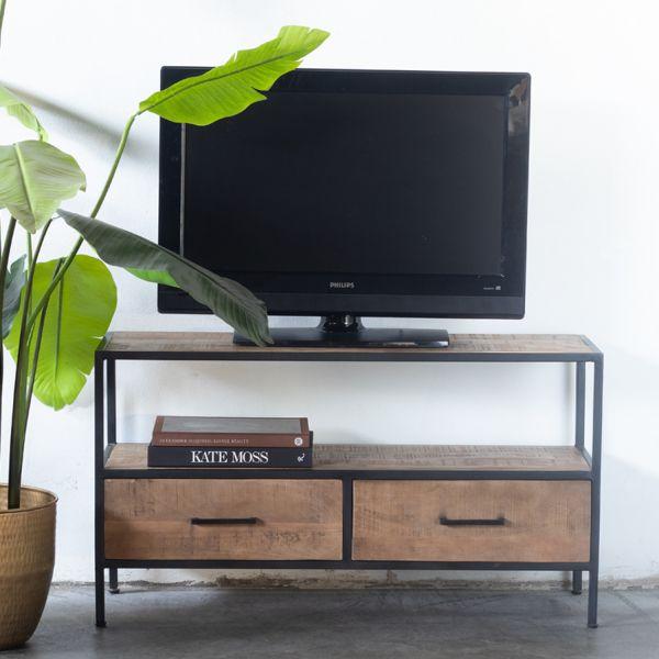 Industrie TV Lowboard WIM 110 cm Mangoholz Metall