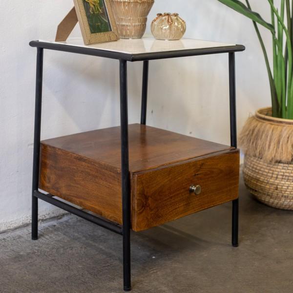 Nachttisch Beistelltisch Vintage Metall Marmor Top Holz braun Nachtschränkchen Nachtkonsole