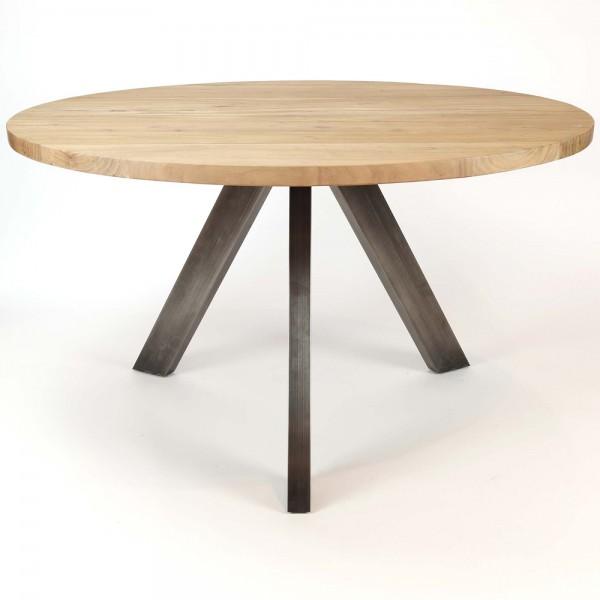 Design Esstisch rund Ø 135 schwarz Edelstahl Holz Tischplatte Akazie