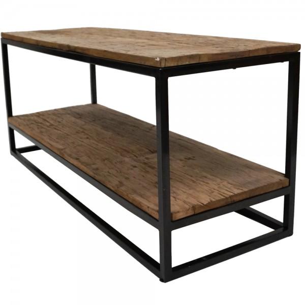 Industrie Design Couchtisch 120 x 40 cm Metall schwarz Massivholz Sofatisch Tisch Beistelltisch
