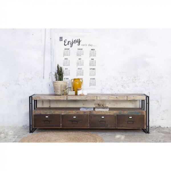 Industrie TV Möbel VINTAGE 180 cm Lowboard recyceltes Holz Metall