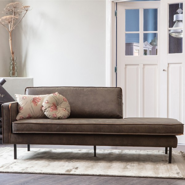 Sofa Chaiselongue RODEO Recamiere links recyceltes Leder armygrün Tagesbett