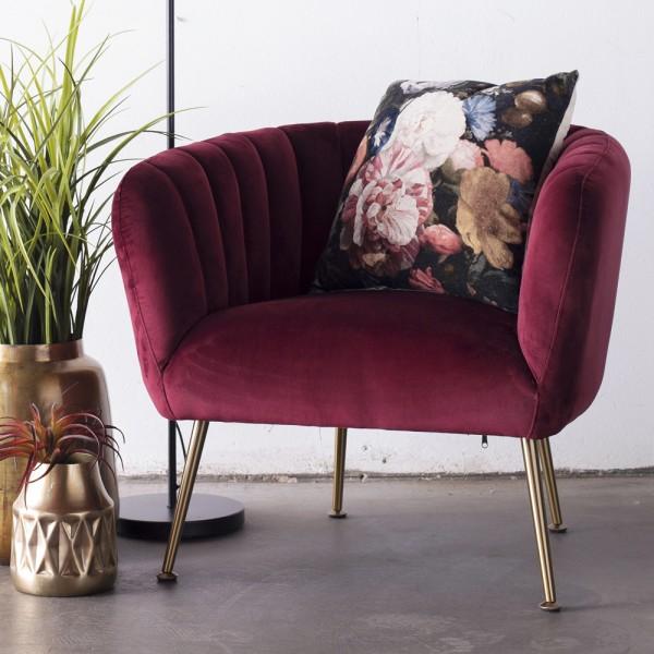 Lounge Sessel Amy Samt Velvet rot Polstersessel Fernsehsessel Relaxsessel