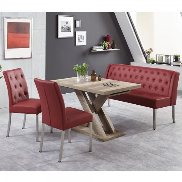 Bankgruppe Essgruppe LIVERPOOL Tischgruppe Bank Tisch Stühle Wildeiche bordeaux
