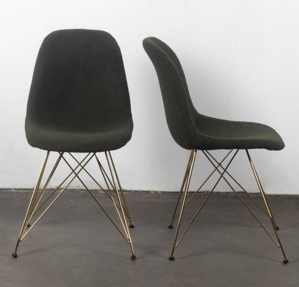 2er Set Stuhl Esszimmerstuhl Luxe Stoff grün Beine gold