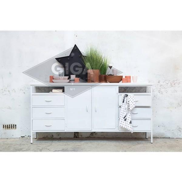 Industriedesign Sideboard Dansk 175 cm Metall weiß Türen Schubladen Kommode