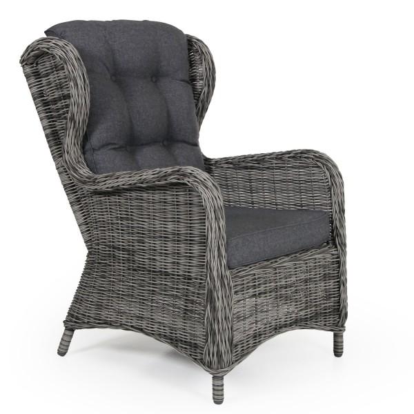 Garten Sessel Rosita Polyrattan grau mit Sitz- und Rückenkissen