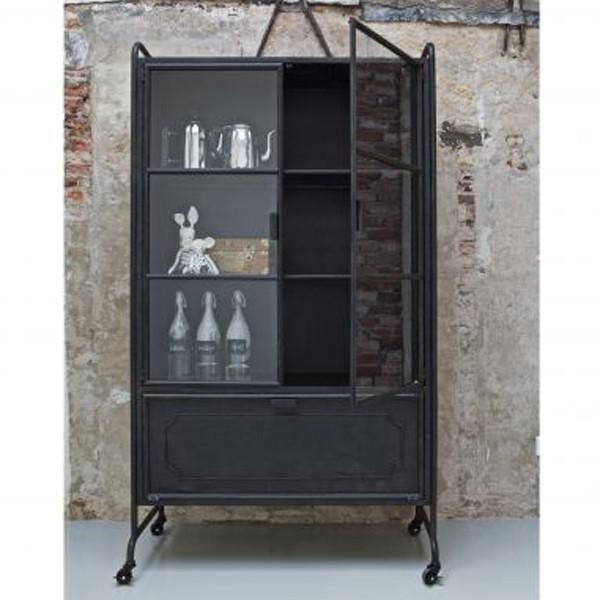 vitrinenschrank storae schrank metall schwarz vitrinen schr nke wohnen maison esto ihr. Black Bedroom Furniture Sets. Home Design Ideas