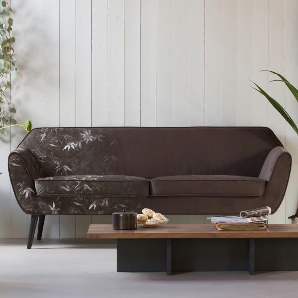 2,5 Sitzer Sofa Rocco Samt Bambus Print Couch Loungesofa Garnitur Couchgarnitur