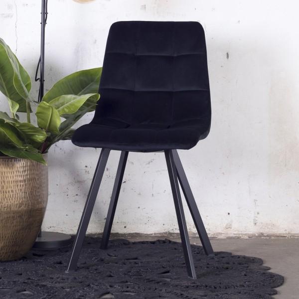 2´er Set Esszimmerstuhl Lola Samt schwarz Stuhl