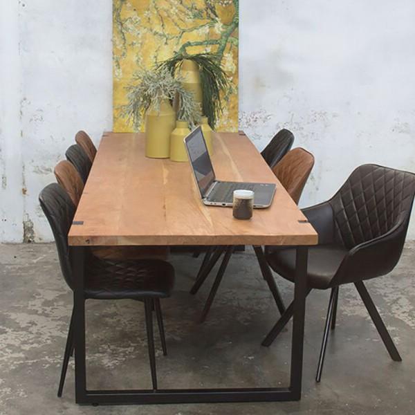 Industrie Esstisch WOODY 210 x 90 cm Esszimmertisch Massivholz Dinnertisch Metall schwarz