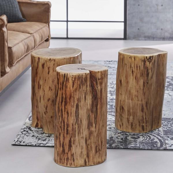 Beistelltisch ± Ø 30 cm Baumstamm Couchtisch Pouf Hocker Tisch Akazie Massivholz
