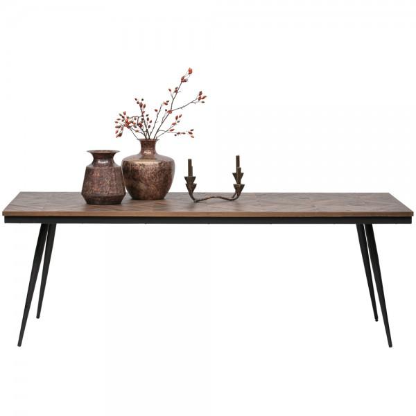 Esstisch Rhombic 220 x 90 cm Metall Teak Holz Esszimmertisch Tisch