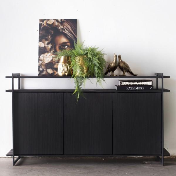 Industrie Kommode Star 160 cm Akazienholz und Metall schwarz