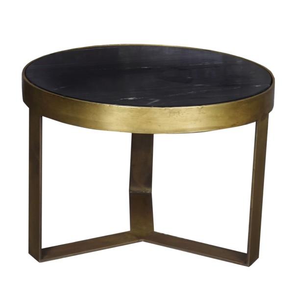 Couchtisch rund Glennis Marble Ø 50 cm B Gold Marmor schwarz
