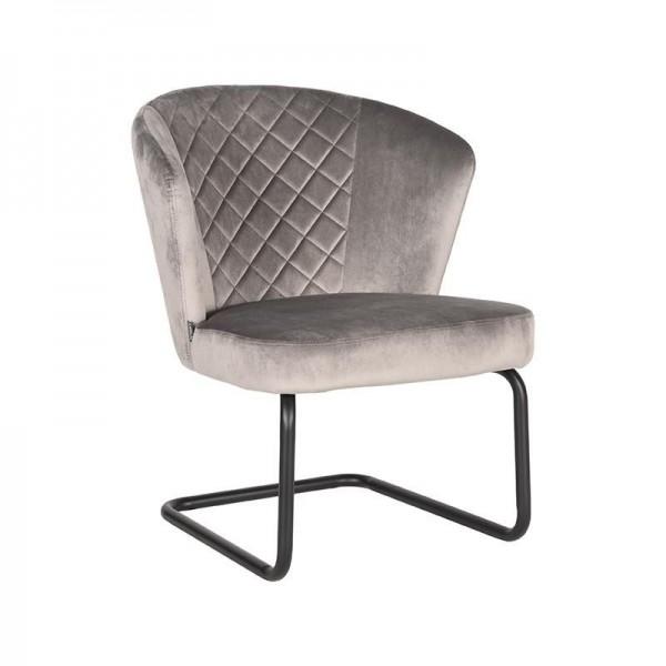 Lounge Sessel Flow Samt Velvet grau
