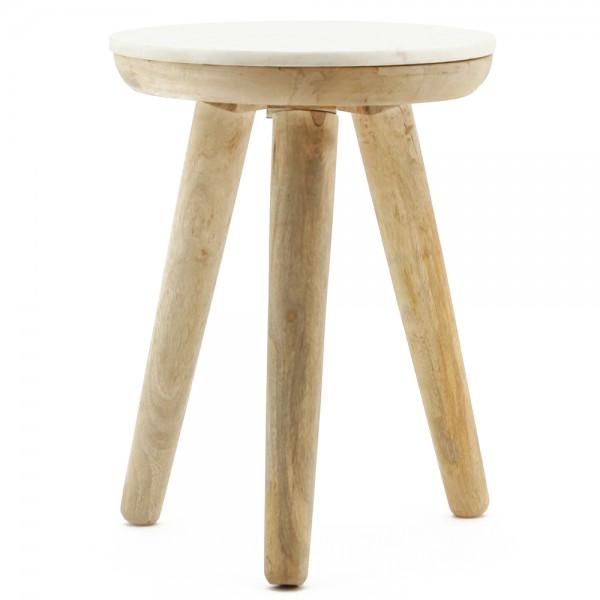 Beistelltisch TRIDENT Ø 40 cm Tisch Kaffeetisch Anstelltisch Holz Marmor weiß