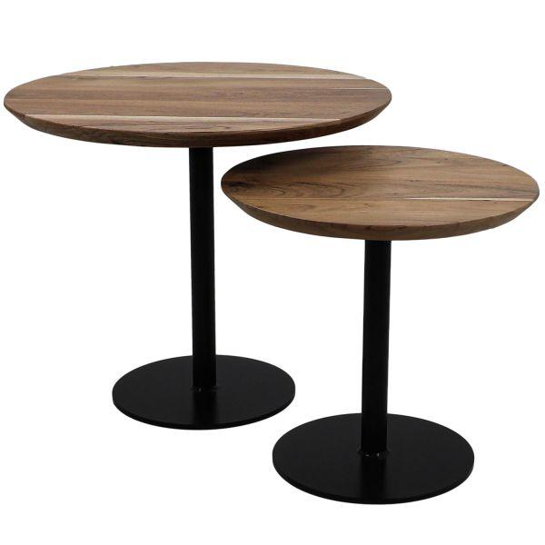 2er Set Beistelltisch Säulentisch Metall Akazie Holzplatte Anstelltisch Tischset