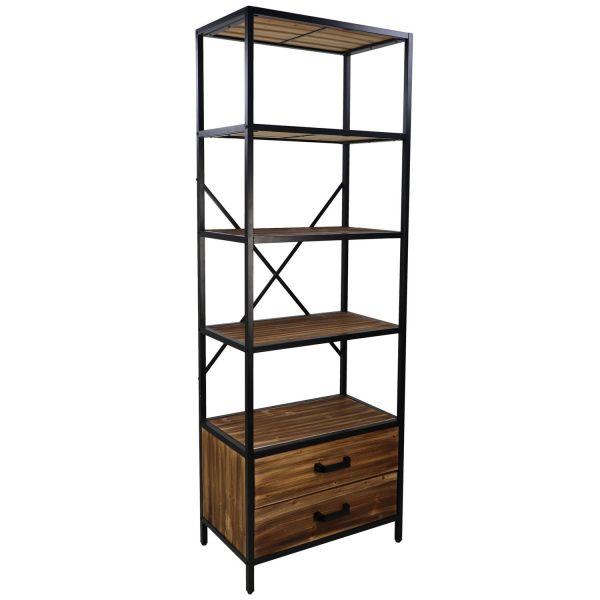 Regal Bücherregal H 175 cm mit 2 Schubladen Teakholz