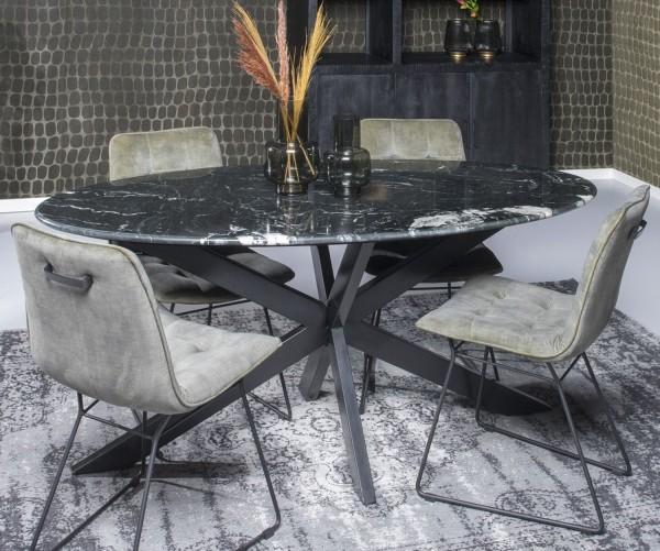 Esstisch Spider oval 180 x 90 cm Marmorplatte schwarz