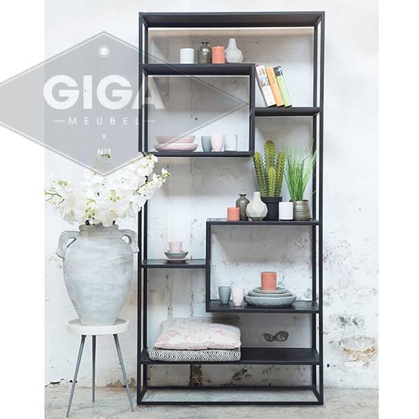 Industrie Design Regal DANSK Metall schwarz Ablageregal Aufbewahrung Bücherregal