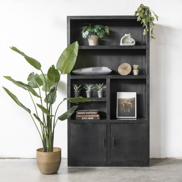 Bücherschrank Xaver B 120 cm Schrank Regal aus Holz schwarz