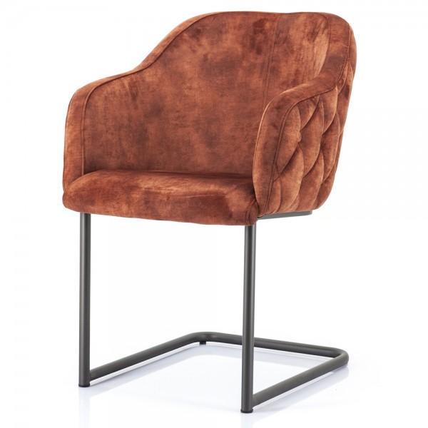 Schwingstuhl Paulette Samt rot Freischwinger Stuhl Esszimmer