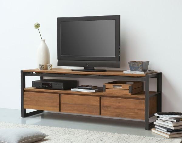 d-Bodhi TV Möbel Fendy 160 cm 3 Schubladen Teakholz Metall Lowboard