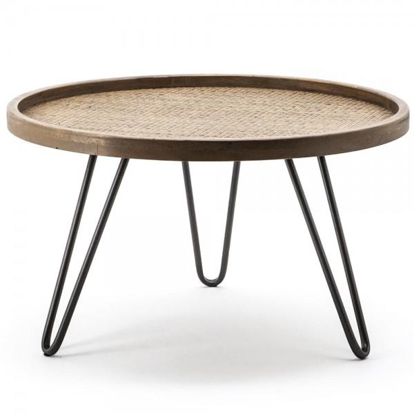 Beistelltisch Drax Ø 60 cm Anstelltisch Sofatisch Tisch Eiche braun Couchtisch