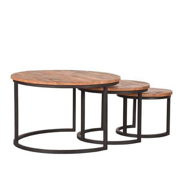 3er Set Beistelltisch Triplet Xl Mango Massivholz Metall schwarz