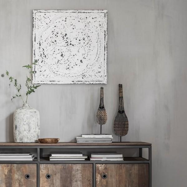 Deko Wandpaneele Versailles 67 x 67 cm Holz Vintage weiß Muster Dekobjekt Wanddeko Paneele