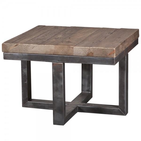 Industrial Couchtisch 62 x 62 cm Holz Metall Anstelltisch Tisch
