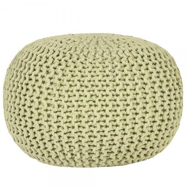 Vintage Strick Pouf Sitzhocker Baumwolle Hocker beige Sitzpouf Polsterhocker