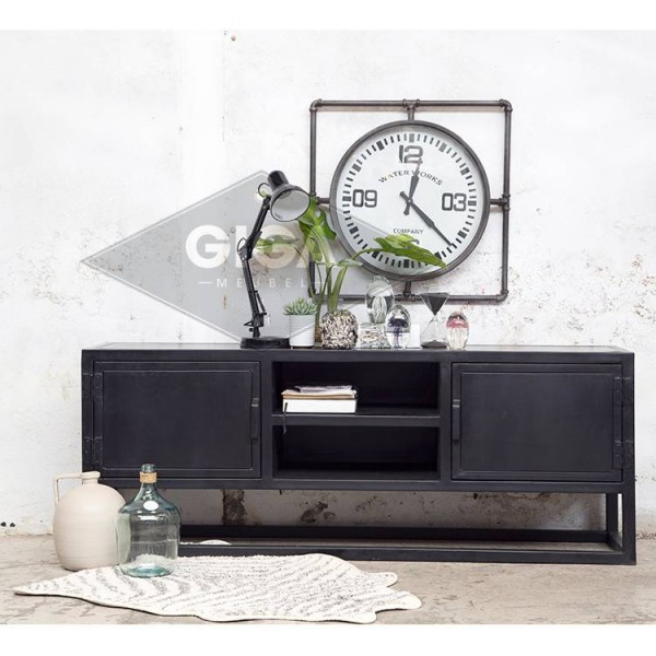 Industrie TV Möbel URBAN Lowboard Metall Sideboard schwarz