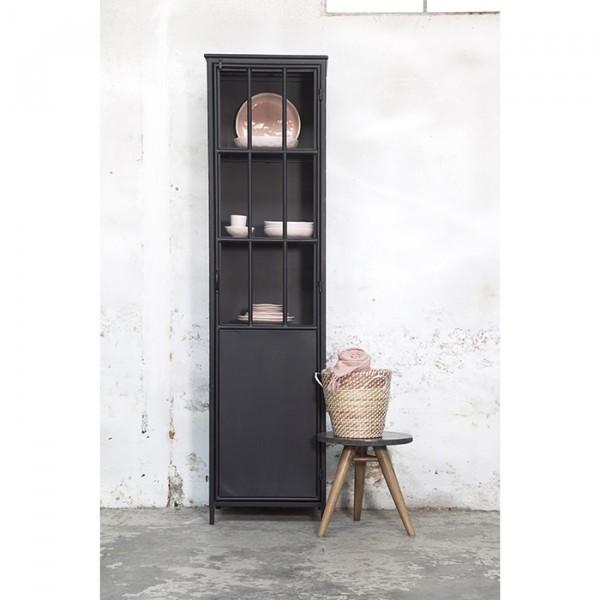 Hochschrank Noortje H 210 cm Metall schwarz Regal Schrank Vitrine Türen