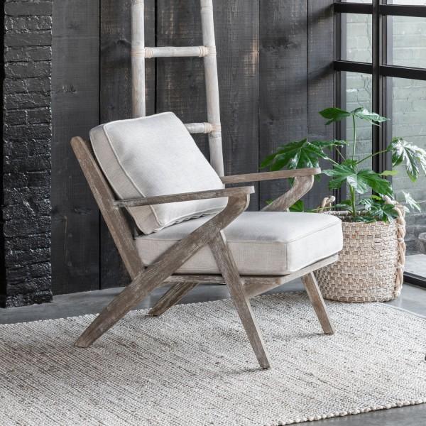 MUST Living Loungesessel Sessel Fletcher Buche Sitzkissen natur