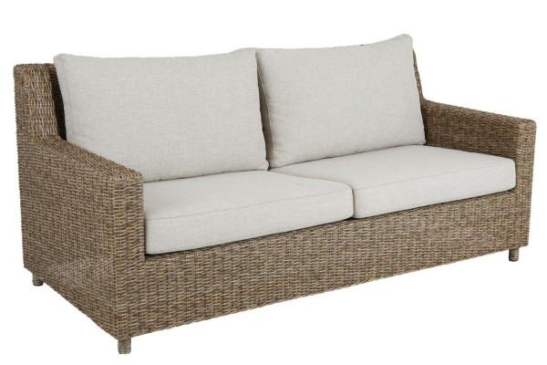 2,5 Sitzer Lounge Garten Sofa Sandkorn Polyrattan incl. Sitzkissen und Rückenkissen