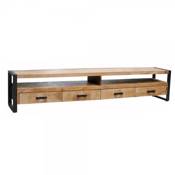 Industrie TV Möbel Lowboard Strong 250 cm Massivholz Metall