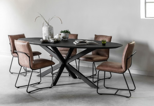 DTP Home Esstisch Timeless oval 200 x 100 cm Teakholz Metall schwarz Dinnertisch Tisch