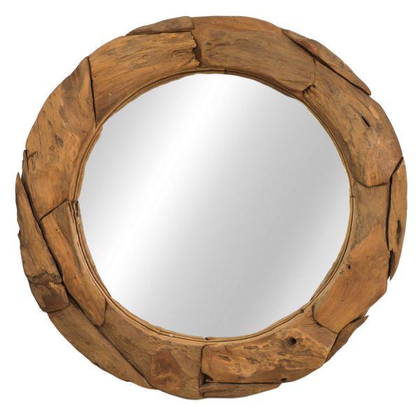 Wandspiegel rund Ø 70 cm natur Spiegel Teak Massivholz Holz Mirror Dekospiegel