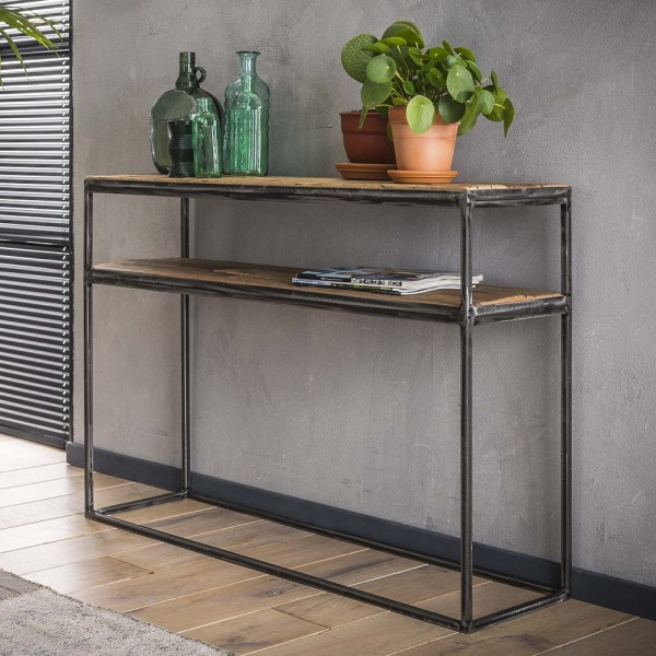 Konsolentisch 110 x 30 cm Sideboard Wandkonsole recyceltes Hartholz Metall