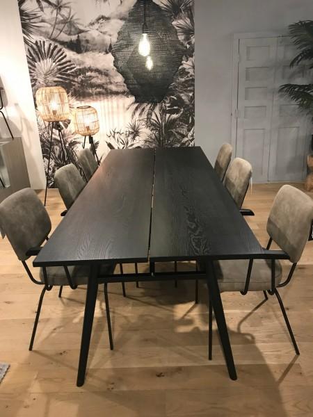 Esstisch 240 x 95 cm Eiche furniert Birkenholz schwarz