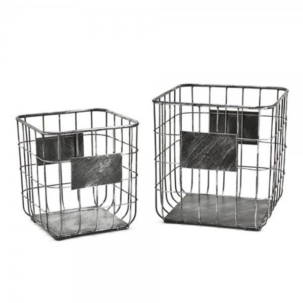 2er Set FRAMEWORK Small Aufbewahrungskörbe Metall Mehrzweckboxen Metallkörbe