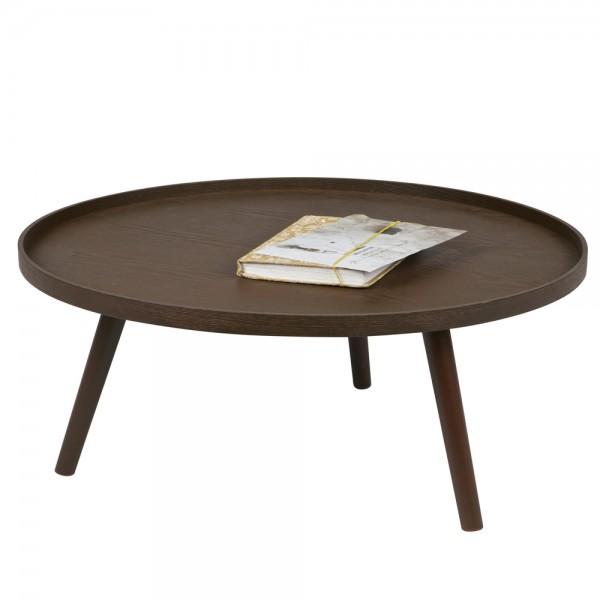 Beistelltisch Couchtisch MESA Ø 78 cm Tisch Kaffeetisch Massivholz Nussbaum