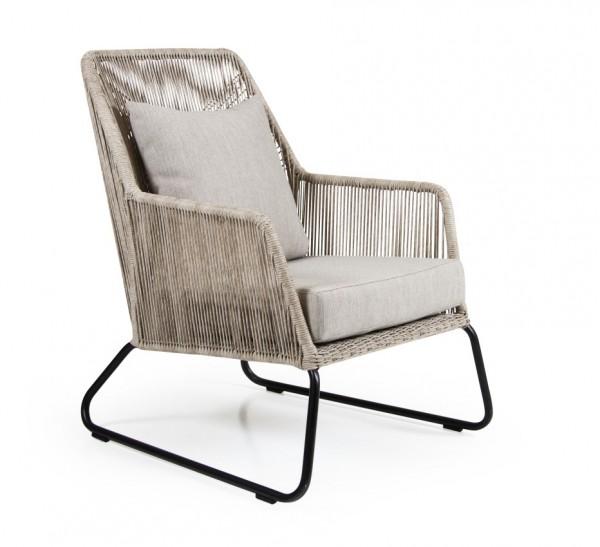 Lounge Gartensessel MIDWAY Kunstrattan beige incl. Sitzkissen