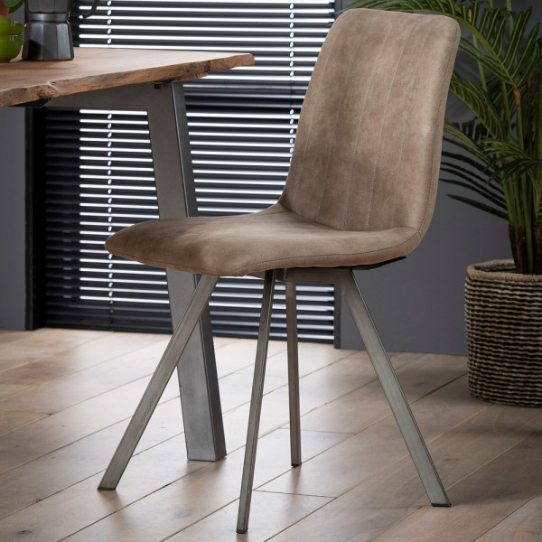 4er Set Stuhl Streifen taupe Polyesterbezug Esszimmerstuhl Dinnerstuhl Esstischstuhl
