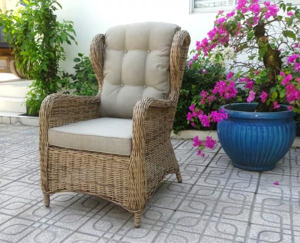Garten Sessel Rosita Polyrattan natur mit Sitz- und Rückenkissen