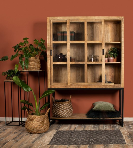Industrie Vitrinenschrank Byron 150 cm Mango Holz