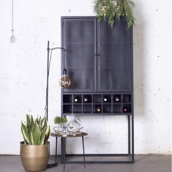 GIGA Weinschrank 181cm Metall schwarz Industrie Style Schrank