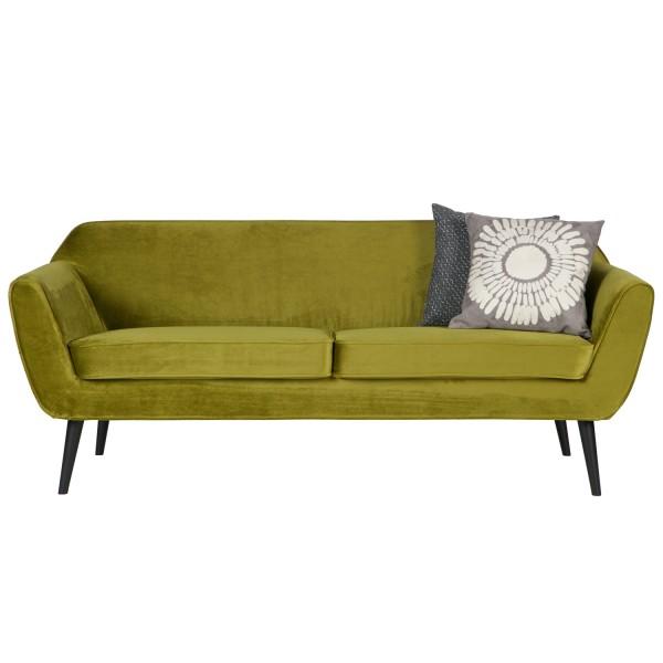 woood 2,5 Sitzer Sofa Rocco Samt olive